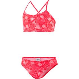 speedo Allover Bikini 2 Piezas Niñas, dazzlegeo psycho red/powder blush